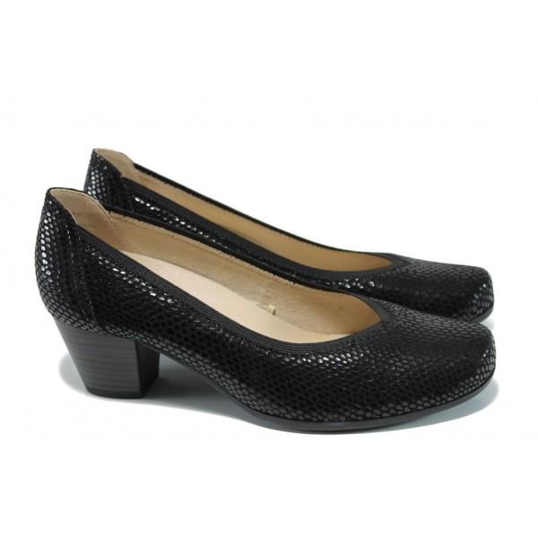 Дамски обувки от естествена кожа Caprice 9-22301-28 черен ANTISHOKK | Немски обувки на ток | MES.BG