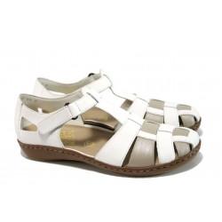 Ортопедични дамски обувки от естествена кожа Rieker 45869-80 бял-бежов ANTISTRESS | Равни немски обувки | MES.BG