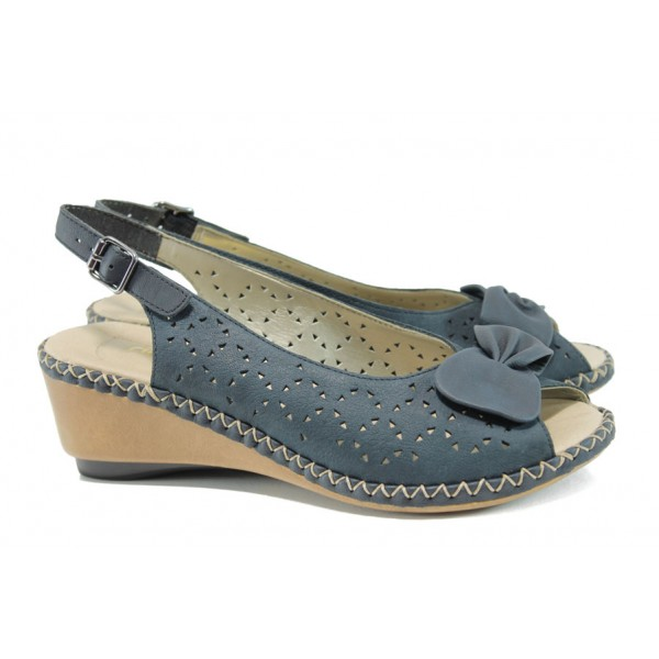 Ортопедични дамски сандали от естествена кожа Rieker 66178-14 син | Немски сандали на ток | MES.BG