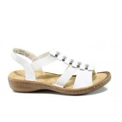 Дамски сандали с ластик Rieker 62850-00 бял ANTISTRESS | Равни немски сандали | MES.BG