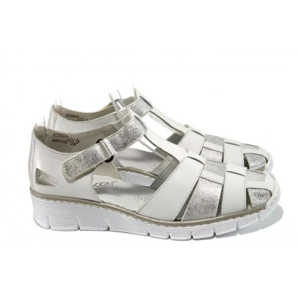 Ортопедични дамски обувки от естествена кожа Rieker 53769-80 бял-сребро ANTISTRESS | Равни немски обувки | MES.BG