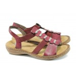 Дамски сандали с ластик Rieker 62850-35 бордо ANTISTRESS | Равни немски сандали | MES.BG