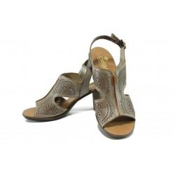 Дамски сандали от естествена кожа Rieker 64151-62 бежов ANTISTRESS | Немски сандали на ток | MES.BG
