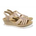 Дамски сандали на платформа Rieker 61913-31 розов ANTISTRESS | Немски сандали на ток | MES.BG