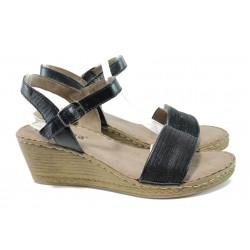 Дамски сандали на платформа от естествена кожа Jana 8-28305-28 черен | Немски сандали на ток | MES.BG