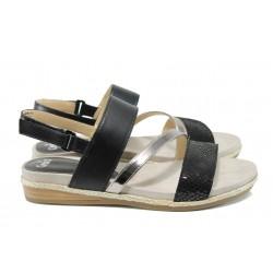 Дамски сандали от естествена кожа Caprice 9-28105-28G черен | Равни немски сандали | MES.BG