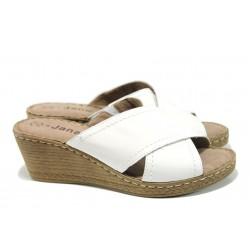 Анатомични дамски чехли от естествена кожа Jana 8-27212-28Н бял | Дамски немски чехли | MES.BG