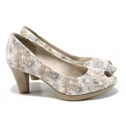 Дамски обувки на ток Marco Tozzi 2-29302-28 бял цветя | Немски обувки на ток | MES.BG