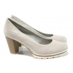 Дамски обувки от естествена кожа Marco Tozzi 2-22437-28 бежов ANTISHOKK | Немски обувки на ток | MES.BG