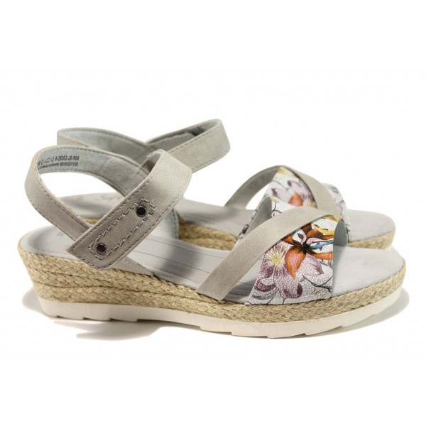 Дамски сандали на платформа Jana 8-28363-28Н сив цветя | Немски сандали на ток | MES.BG