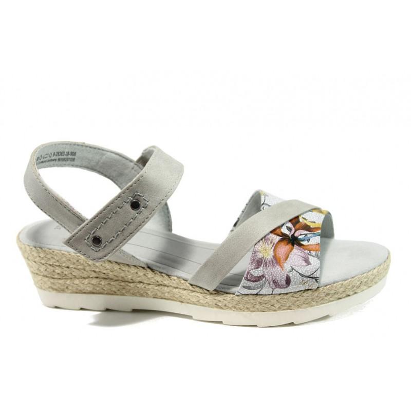 86e9ec86070 Дамски сандали на платформа Jana 8-28363-28Н сив цветя | Немски сандали на  ток ...