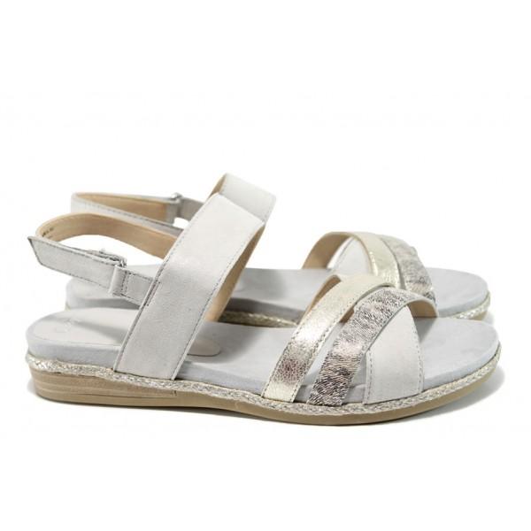 Анатомични дамски сандали от естествена кожа Caprice 9-28103-28G сив | Равни немски сандали | MES.BG