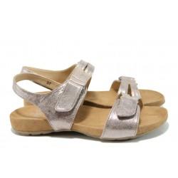 Анатомични дамски сандали от естествена кожа Caprice 9-28607-28G розов | Равни немски сандали | MES.BG