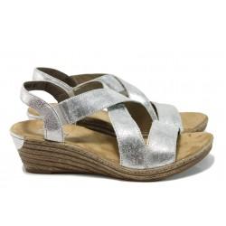 Дамски сандали от естествена кожа Rieker 62481-90 сребро ANTISTRESS | Немски сандали на ток | MES.BG