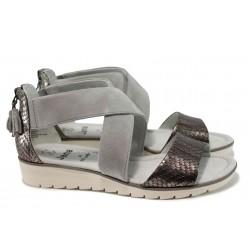 Дамски сандали от естествена кожа Jana 9-28602-28Н сив | Равни немски сандали | MES.BG