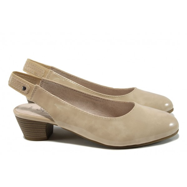 Дамски лачени обувки Jana 8-29561-28Н бежов | Немски обувки на ток | MES.BG