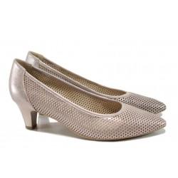 Дамски обувки от естествена кожа Caprice 9-22500-28G розов | Немски обувки на ток | MES.BG