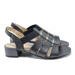 Дамски сандали от естествена кожа Caprice 9-28200-28G черен | Немски сандали на ток | MES.BG
