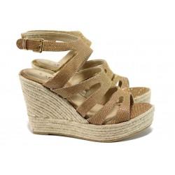Дамски сандали на платформа s.Oliver 5-28312-28 злато-розов | Немски сандали на ток | MES.BG