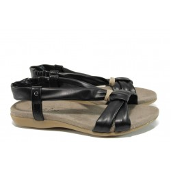 Анатомични дамски сандали Jana 8-28160-28 черен | Равни немски сандали | MES.BG