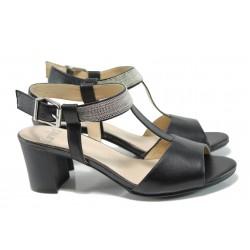 Дамски сандали от естествена кожа Caprice 9-28301-28G черен | Немски сандали на ток | MES.BG