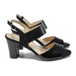 Дамски сандали от естествена кожа Caprice 9-28307-28G черен | Немски сандали на ток | MES.BG