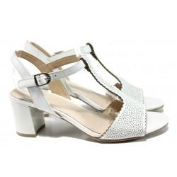 Дамски сандали от естествена кожа Caprice 9-28311-28G бял | Немски сандали на ток | MES.BG