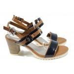 Елегантни дамски сандали Marco Tozzi 2-28704-28 т.син-кафяв   Немски сандали на ток   MES.BG