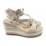 Дамски сандали с мемори пяна Marco Tozzi 2-28350-28 бежов | Немски сандали на платформа | MES.BG
