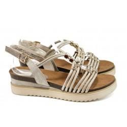 Анатомични дамски сандали Marco Tozzi 2-28505-28 бежов | Немски сандали на платформа | MES.BG