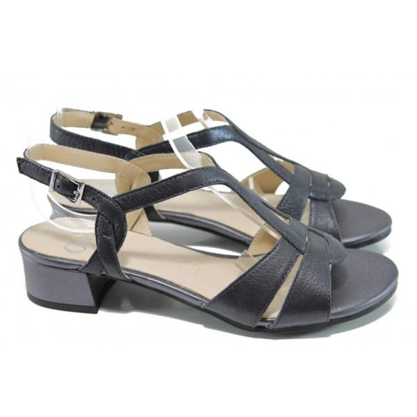 Дамски сандали от естествена кожа Caprice 9-28201-28G т.син   Немски сандали на ток   MES.BG