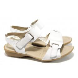 Дамски сандали от естествена кожа Caprice 9-28705-28G бял ANTISHOKK | Равни немски сандали | MES.BG