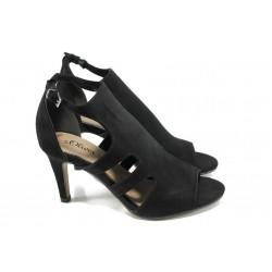 Анатомични дамски сандали с мемори пяна S.Oliver 5-28340-28 черен | Немски сандали на ток | MES.BG