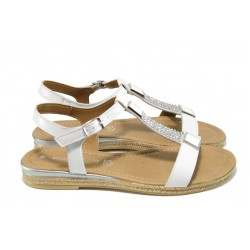 Дамски сандали от естествена кожа Marco Tozzi 2-28133-28 бял | Равни немски сандали | MES.BG