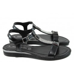 Дамски сандали от естествена кожа Marco Tozzi 2-28133-28 черен | Равни немски сандали | MES.BG
