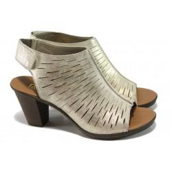 Дамски сандали от естествена кожа Rieker 64197-62 злато ANTISTRESS | Немски сандали на ток | MES.BG