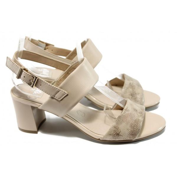 Дамски сандали от естествена кожа Caprice 9-28302-28G бежов | Немски сандали на ток | MES.BG