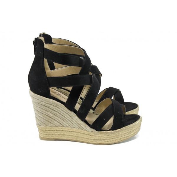 Дамски сандали на платформа S.Oliver 5-28311-28 черен   Немски сандали на ток   MES.BG