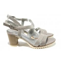 Елегантни дамски сандали Marco Tozzi 2-28705-28 сив | Немски сандали на ток | MES.BG