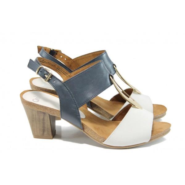 Дамски сандали от естествена кожа Caprice 9-28308-28G бял-син | Немски сандали на ток | MES.BG