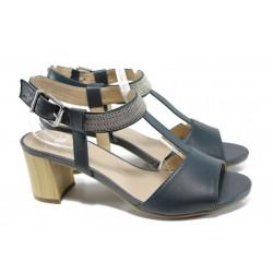 Дамски сандали от естествена кожа Caprice 9-28301-28G син | Немски сандали на ток | MES.BG