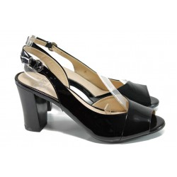 Дамски сандали на ток Caprice 9-28304-28 черен лак | Немски сандали на ток | MES.BG