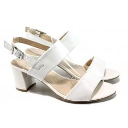 Дамски сандали от естествена кожа Caprice 9-28302-28G бял | Немски сандали на ток | MES.BG