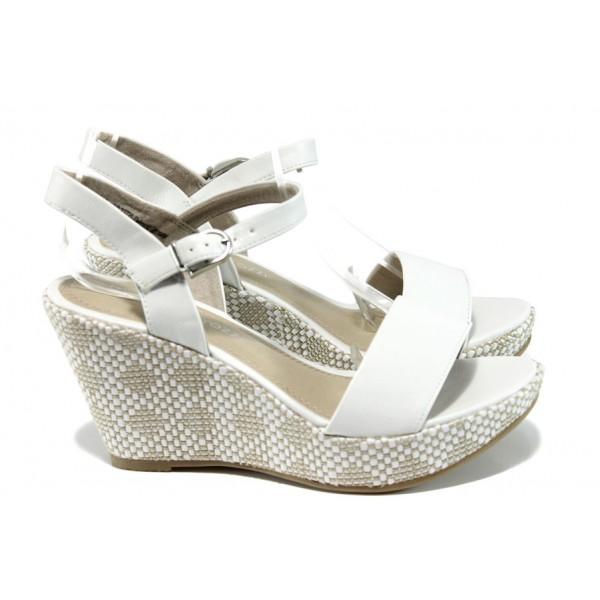 Дамски сандали на платформа Marco Tozzi 2-28358-28 бял | Немски сандали на ток | MES.BG