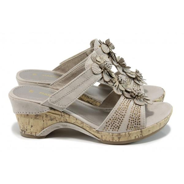 Анатомични дамски чехли на Marco Tozzi 2-27213-28 бежов   Немски чехли на ток   MES.BG