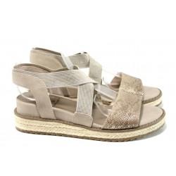 Анатомични дамски сандали Jana 8-28603-28 бежов | Немски сандали на платформа | MES.BG