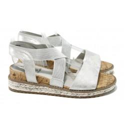 Анатомични дамски сандали Jana 8-28603-28 сив | Немски сандали на платформа | MES.BG