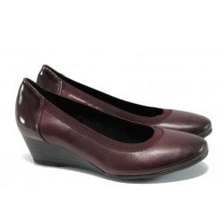 Анатомични дамски обувки от естествена кожа Marco Tozzi 2-22300-29 бордо | Немски обувки на платформа | MES.BG
