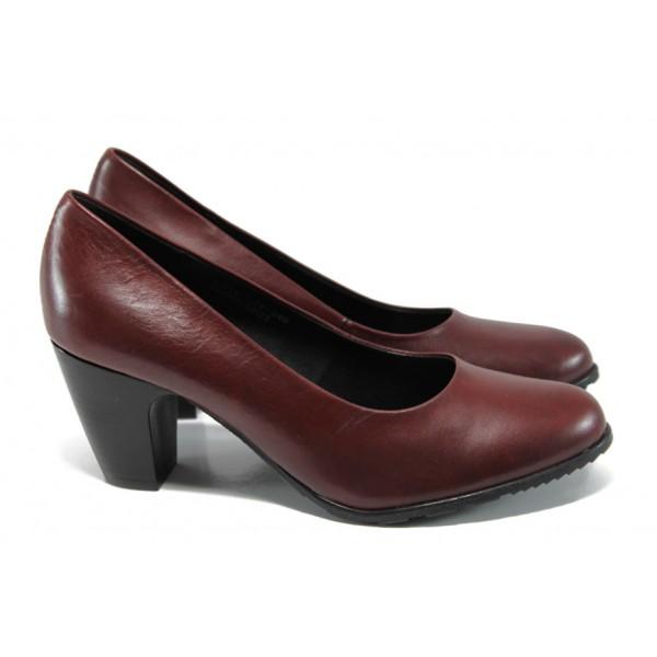 Елегантни дамски обувки от естествена кожа S.Oliver 5-22411-29 бордо | Немски дамски обувки | MES.BG