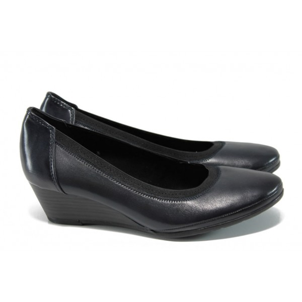 Анатомични дамски обувки от естествена кожа Marco Tozzi 2-22300-29 т.син | Немски обувки на платформа | MES.BG